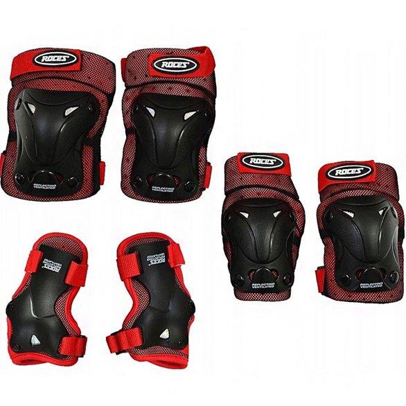 Ochraniacze na łyżworolki Roces Ventilated JR czerwono czarne 3-Pack 301352 02